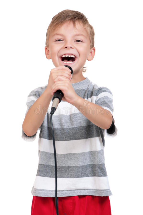 Boy with microphone stock image
