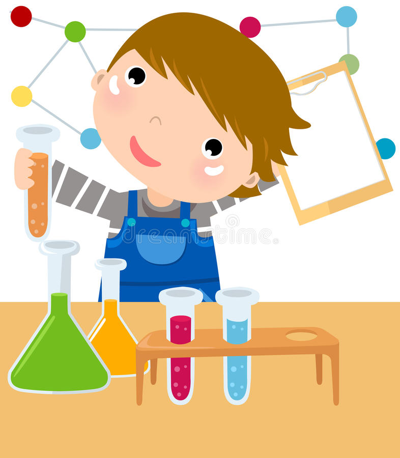 boy mixes chemicals in a lab. royalty free illustration