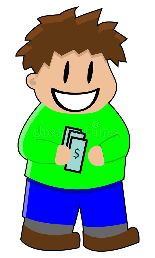 Boy With Money Stock Photo