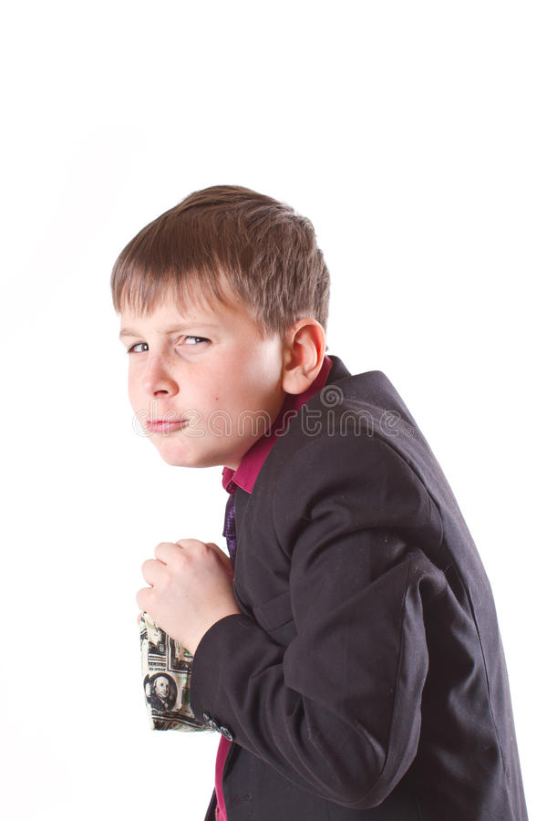 Boy With Money Bag Stock Photography