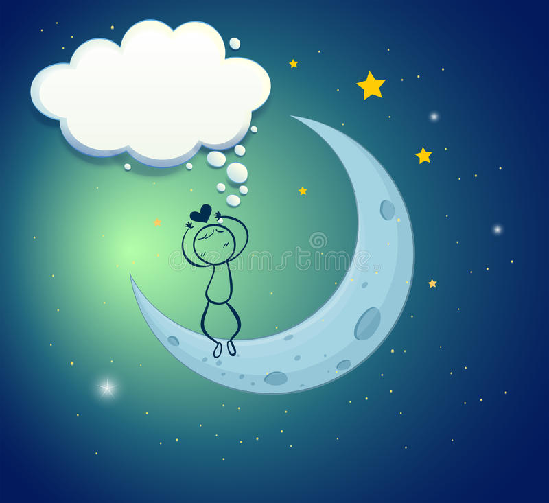 Download A Boy At The Moon With An Empty Thought Stock Vector - Image: 32202152