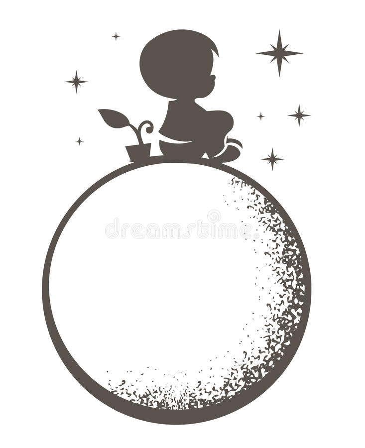 Boy on the moon. Vector illustration of a boy sitting on the moon on a white background royalty free illustration