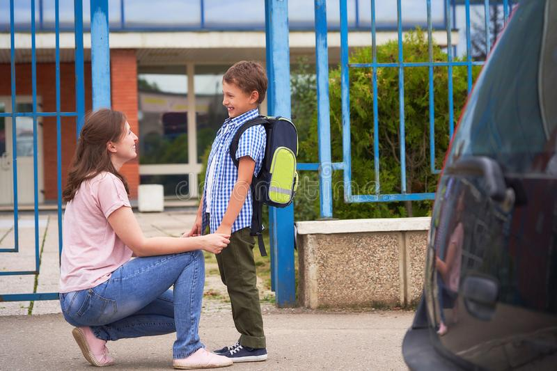 Boy in the morning, goes to school royalty free stock images