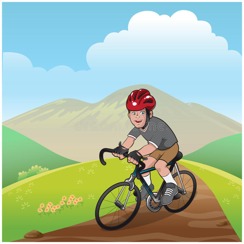 Boy mountain bike royalty free illustration