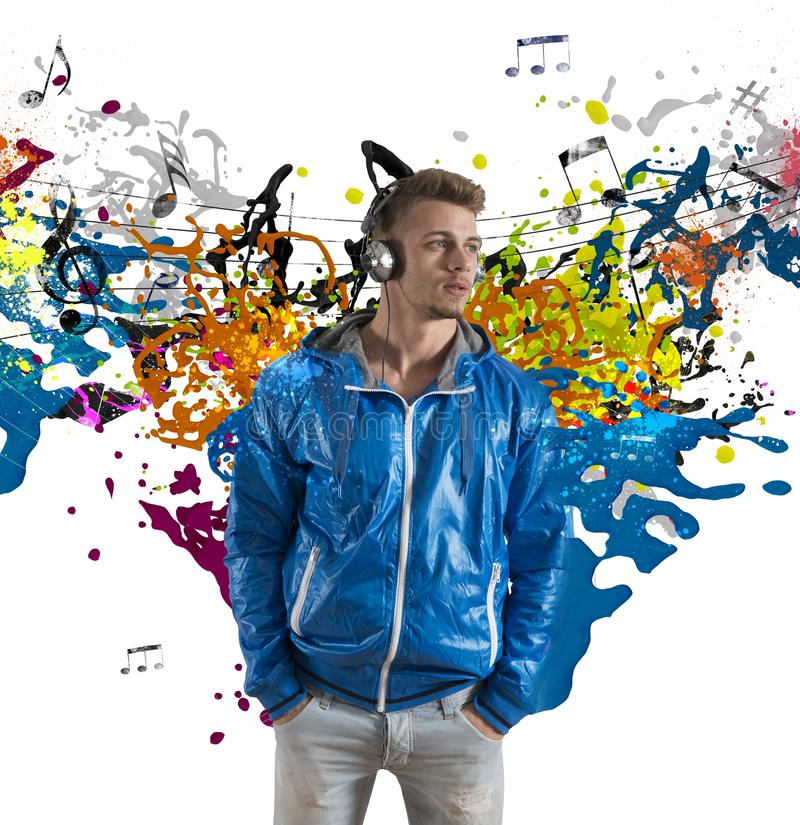 Download Boy And Music Note Splashing Royalty Free Stock Photography - Image: 29083217