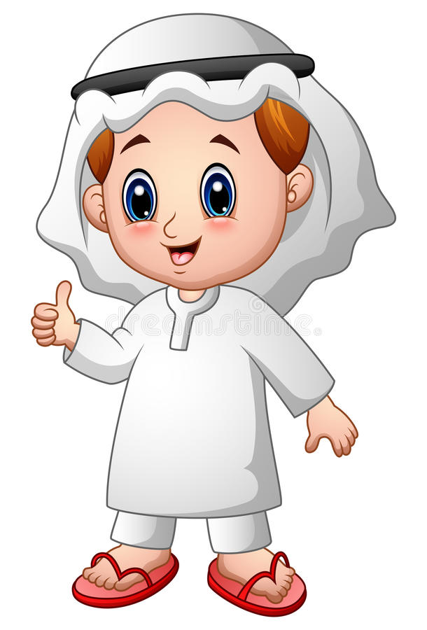 Boy muslim cartoon giving thumb up. Illustration of Boy muslim cartoon giving thumb up vector illustration