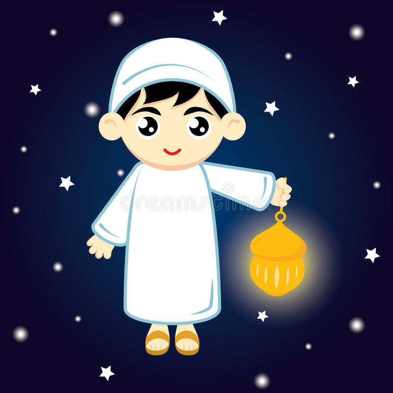 Boy Muslim. Happy Ramadan. Little Boy Muslim Hold lamp on blue background at night. Vector illustration stock illustration