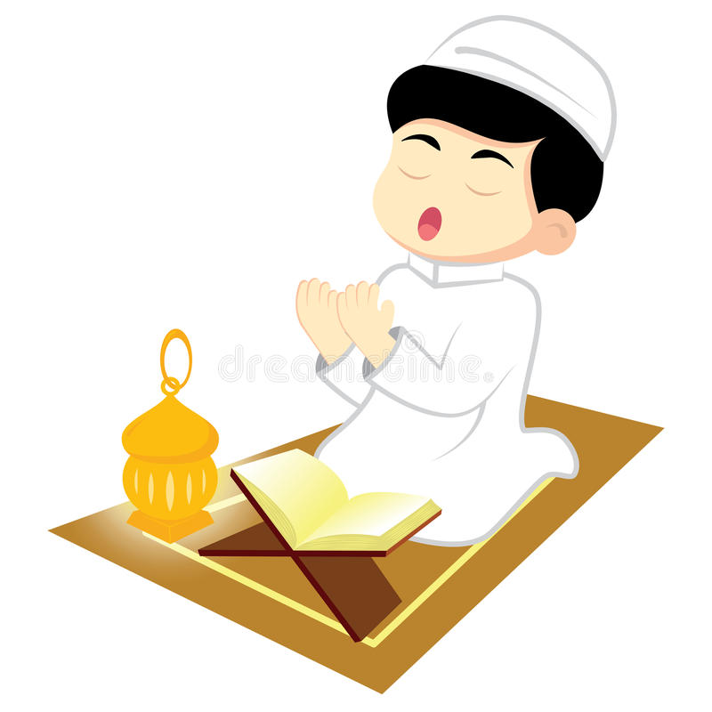 Boy Muslim Pray. Happy Ramadan. Little Boy Muslim praying on carpet. Reading Namaj, Islamic Prayer from the lighting of the a lamp. Vector illustration stock illustration