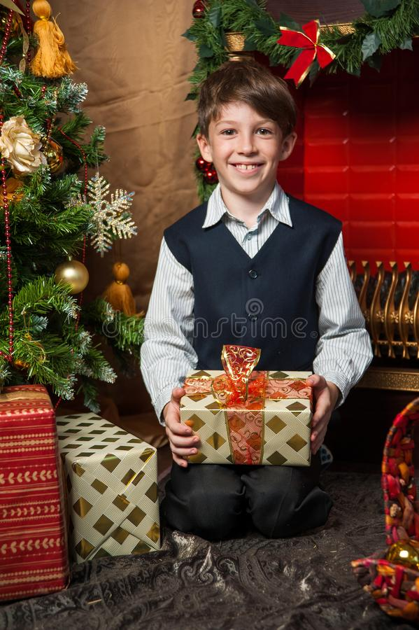 boy near the decorated Christmas tree royalty free stock images