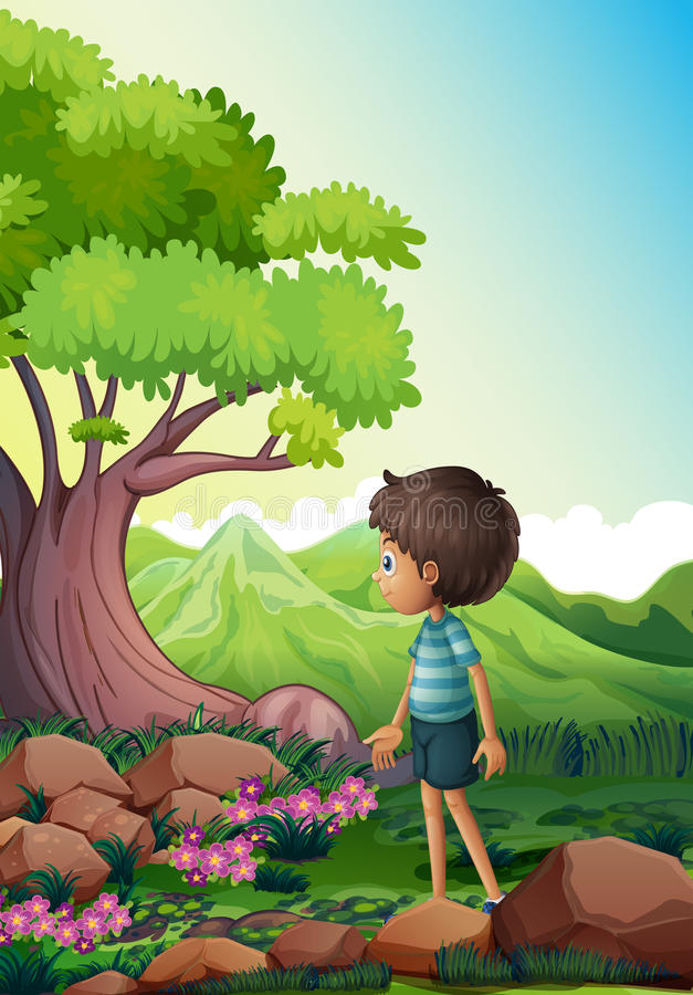 A boy near the giant tree in the forest royalty free illustration