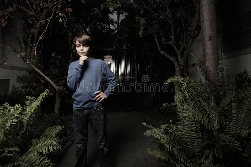 Boy in a night scene royalty free stock photography