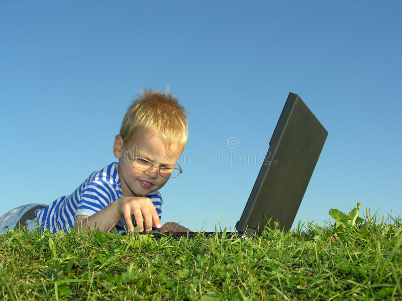 Boy with notebook royalty free stock image