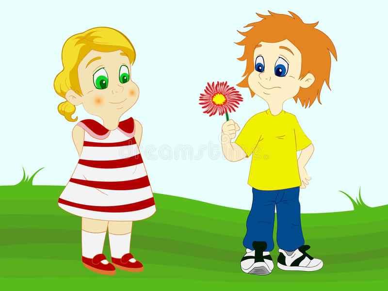 Download Boy Offering Flower To His Girlfriend Stock Vector - Illustration: 19657676