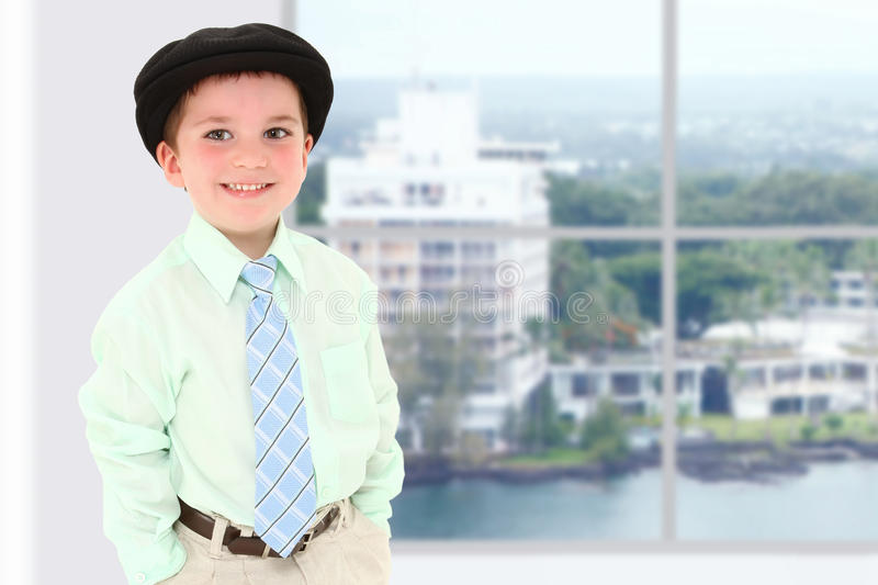 Boy in Office Building royalty free stock photography