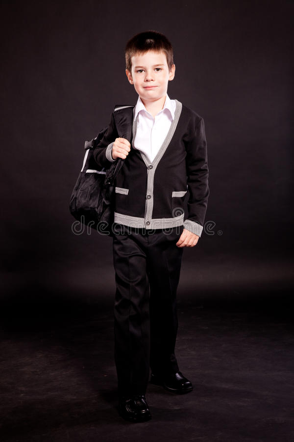 Download Boy In Official Dresscode With Backpack Stock Photo - Image: 22351600