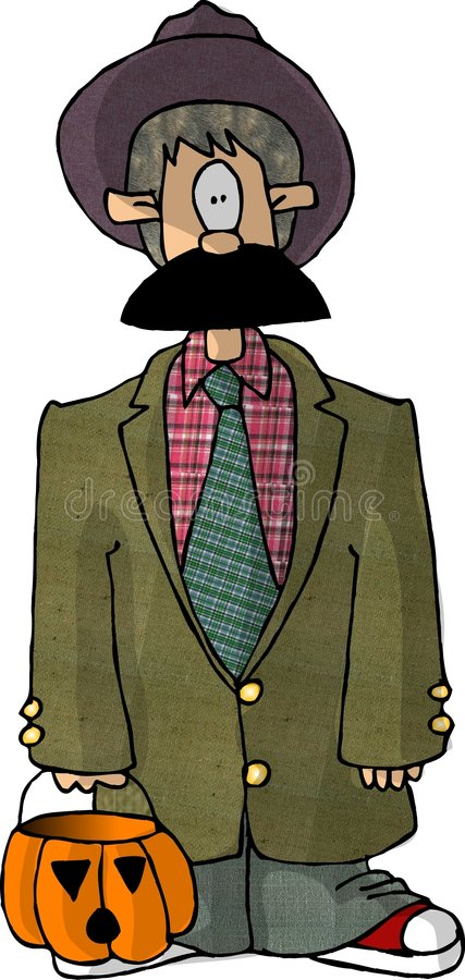 Boy in an old man costume vector illustration
