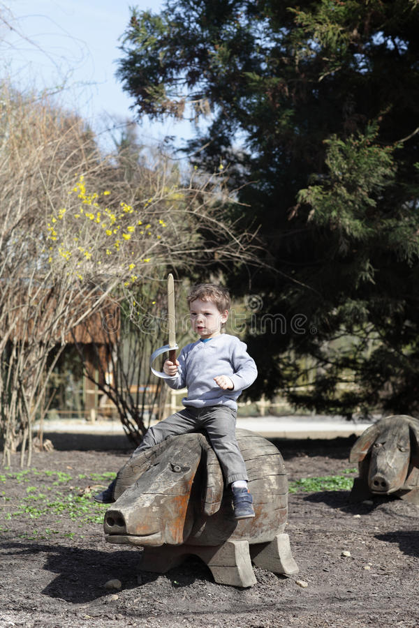 Free Boy On A Wooden Pig Stock Photography - 41455692