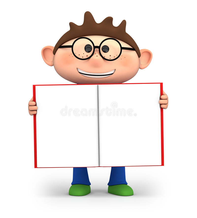 Boy with open book stock illustration