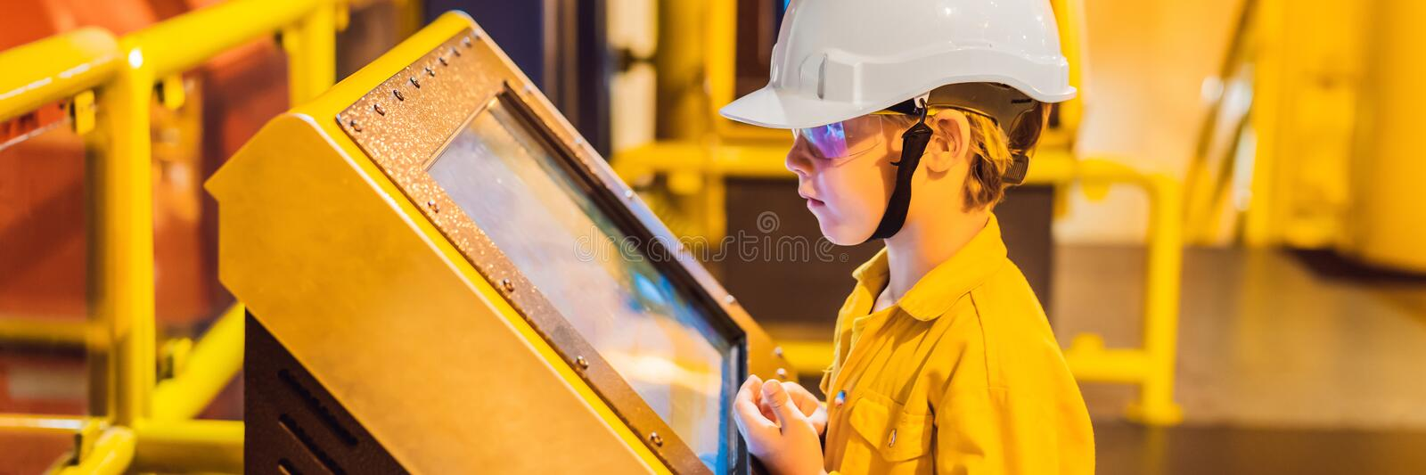 Boy operator recording operation of oil and gas process at oil and rig plant, offshore oil and gas industry, offshore stock images