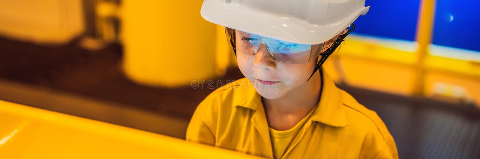Boy operator recording operation of oil and gas process at oil and rig plant, offshore oil and gas industry, offshore stock photos