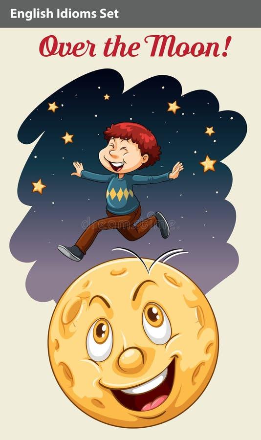 A boy over the moon vector illustration