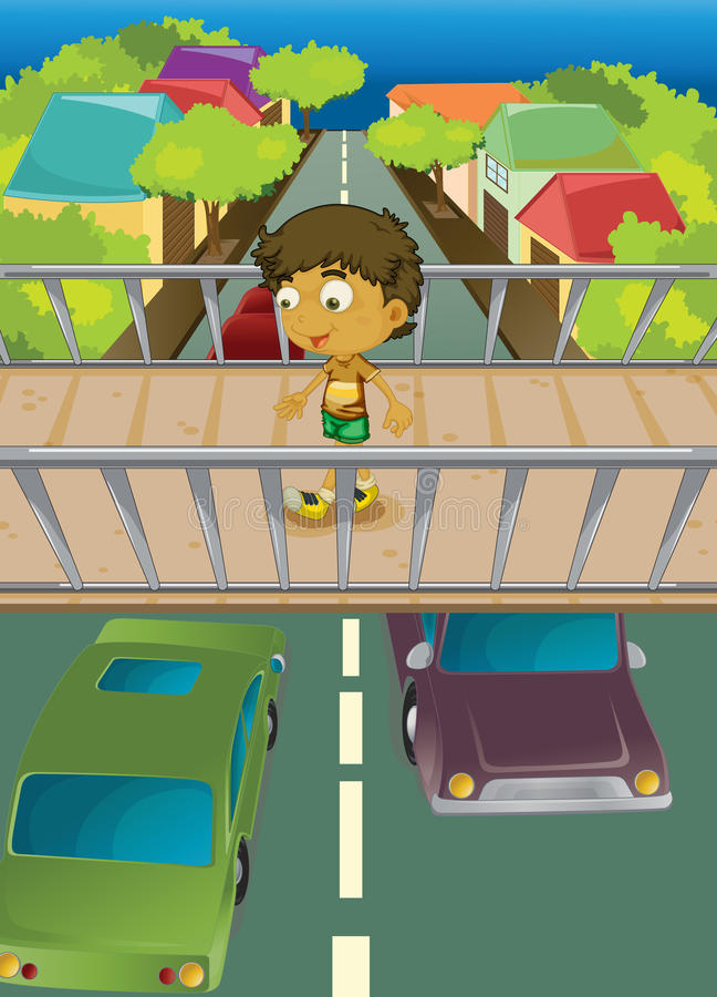 Download Boy on overpass stock vector. Image of people, houses - 33691334