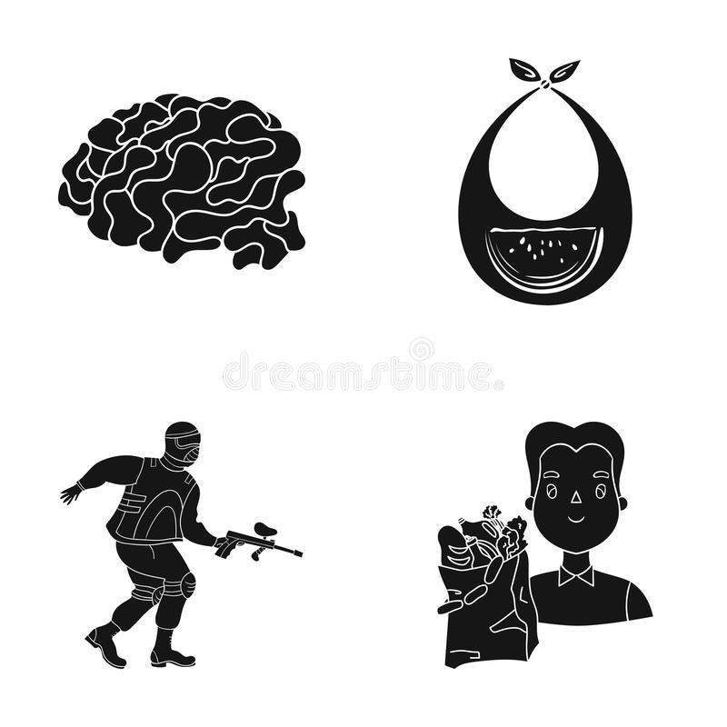 Boy, packing, food and other web icon in black style.machine, game, ping-pong, icons in set collection. stock illustration