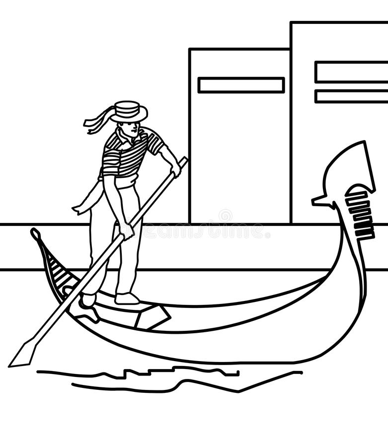 Boy Paddling A Boat Coloring Page Stock Illustration - Illustration ...