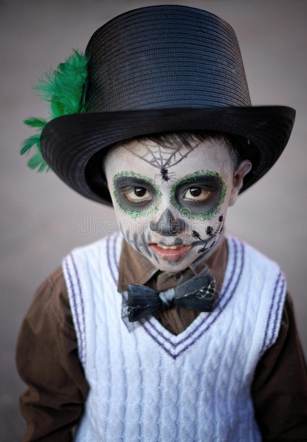 Boy with Painted Face, Mexico stock photography