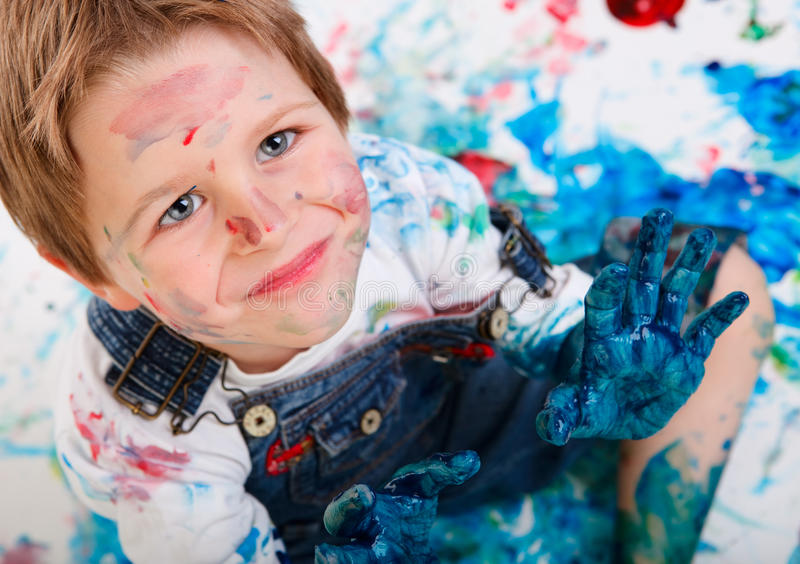 Download Boy painting stock image. Image of cheerful, inspiration - 11473043