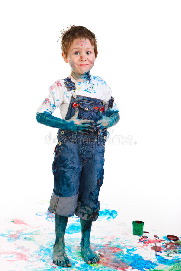 Download Boy painting stock photo. Image of brush, messy, drawing - 11473070