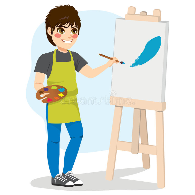 Boy Painting Canvas. Young boy artist painting blue color paint brush stroke on canvas standing holding color palette stock illustration