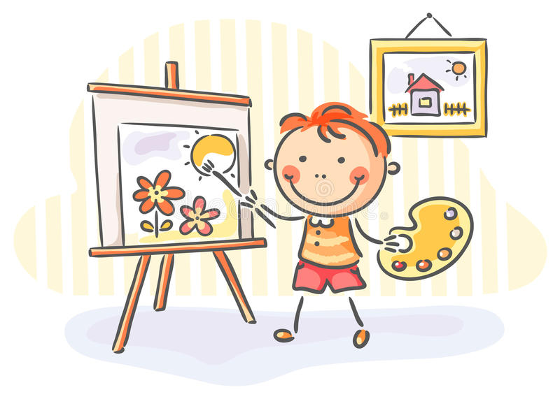 Boy painting a picture stock illustration