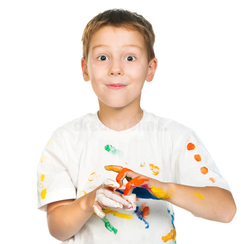 Boy with paints royalty free stock photography