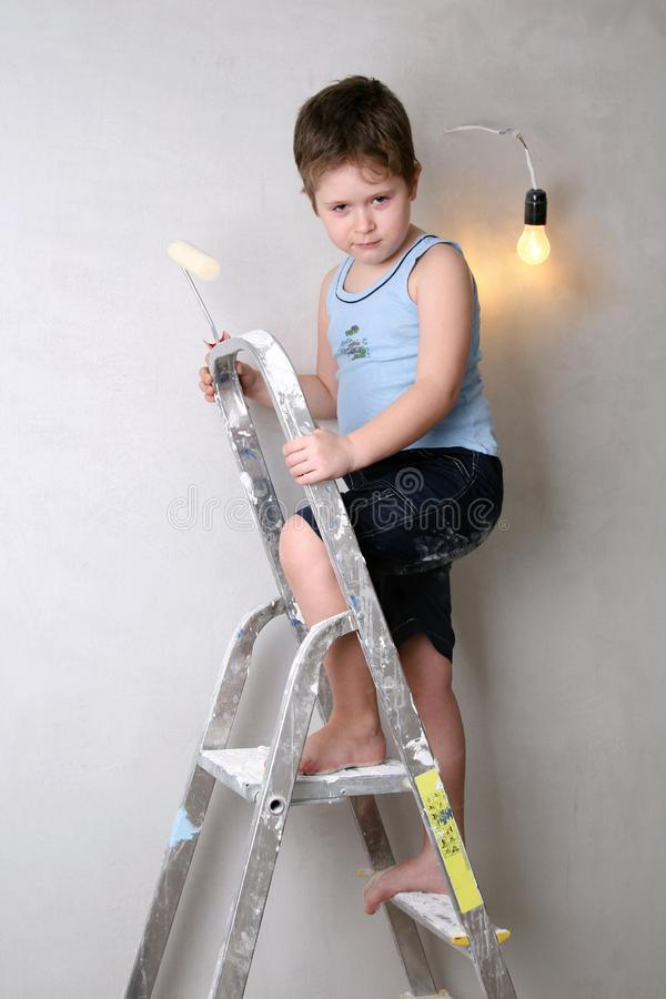 Boy with palette-knife royalty free stock photos