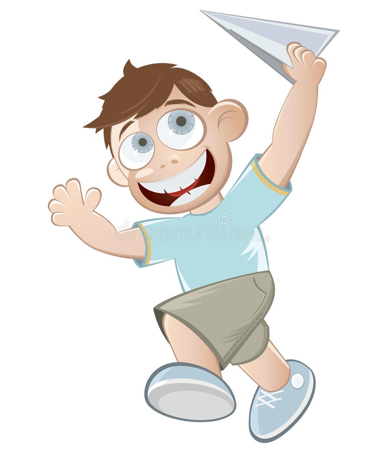 Download Boy with paper plane stock vector. Image of flying, happiness - 22684444