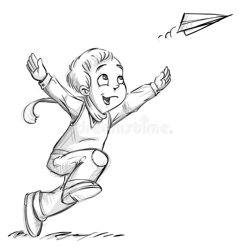 A boy with a paper plane. A boy throwing a paper plane stock illustration