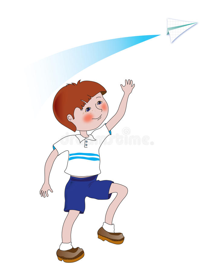 The boy with paper plane vector illustration