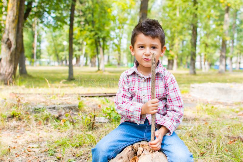 Boy in the Park sitting on a log stock image