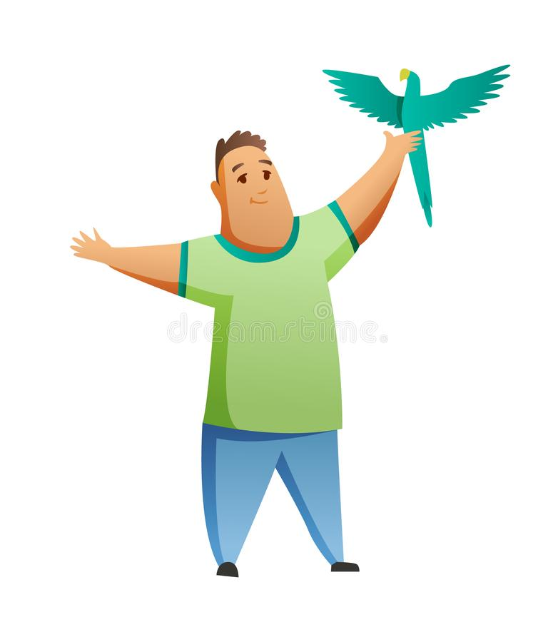 Boy with parrot isolated on white background. Holding their domestic animal. Male flat cartoon character. Colorful stock illustration