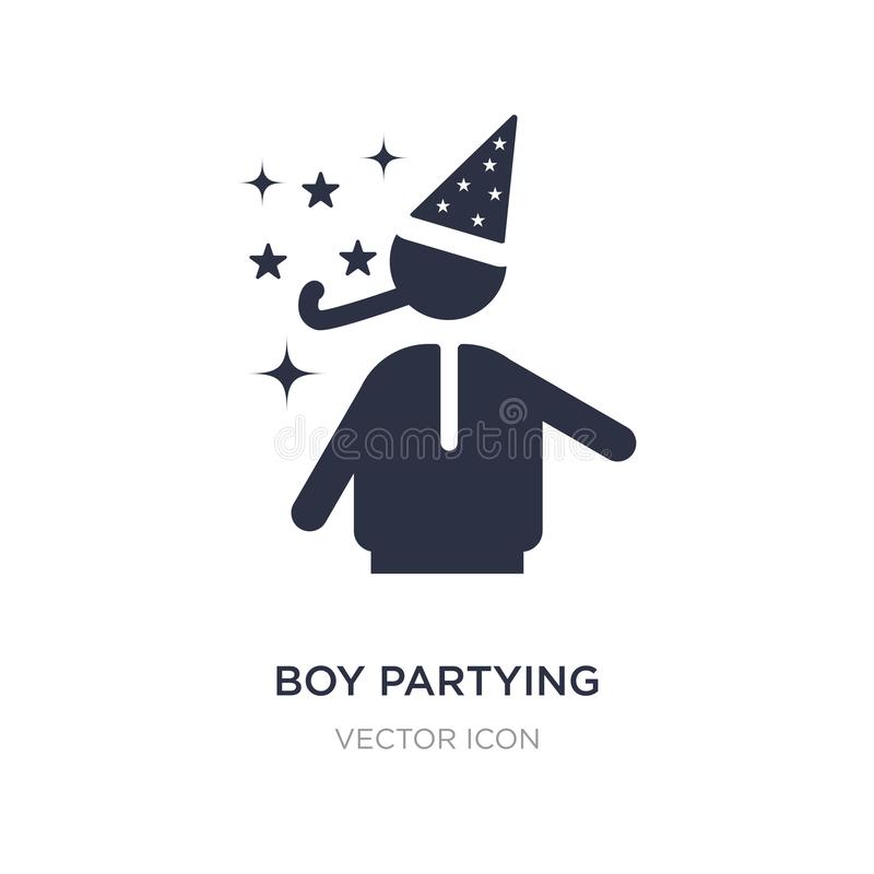 boy partying icon on white background. Simple element illustration from Party concept stock illustration