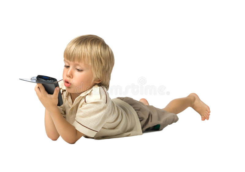Boy with PDA stock images