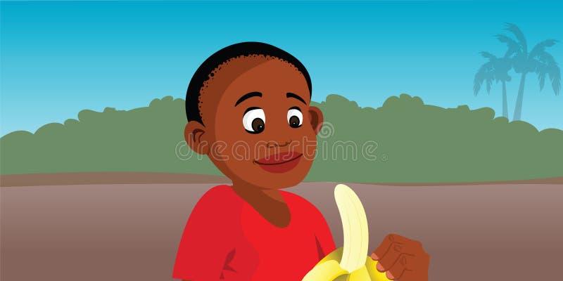 Boy peeling banana vector illustration