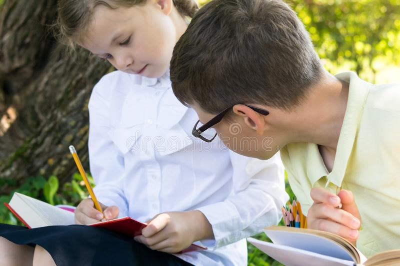 A boy peeps into a textbook for a girl during a lesson in a park, how to do a task from a teacher royalty free stock images