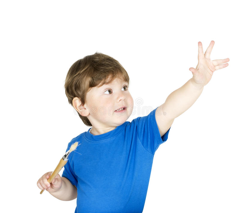 Download Boy with a pencil. stock image. Image of excited, beautiful - 24220361