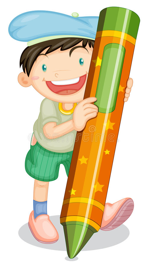 Boy with pencil royalty free illustration