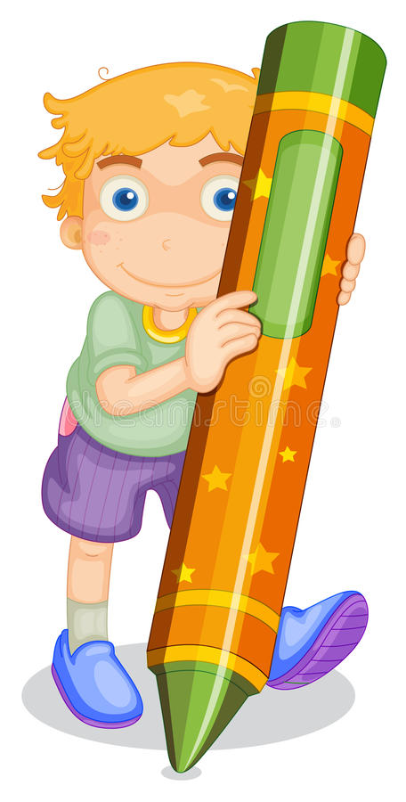 Boy with pencil vector illustration