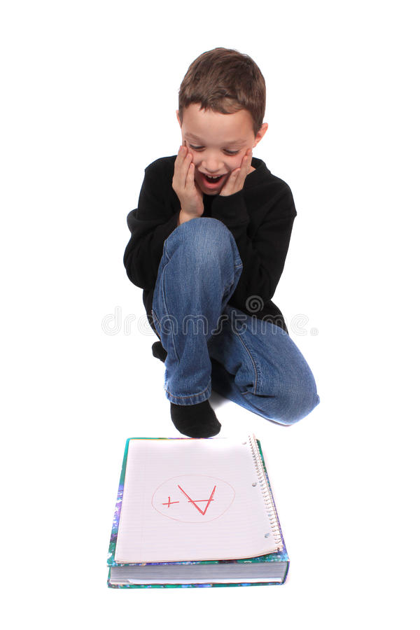 Boy with perfect school mark stock photography
