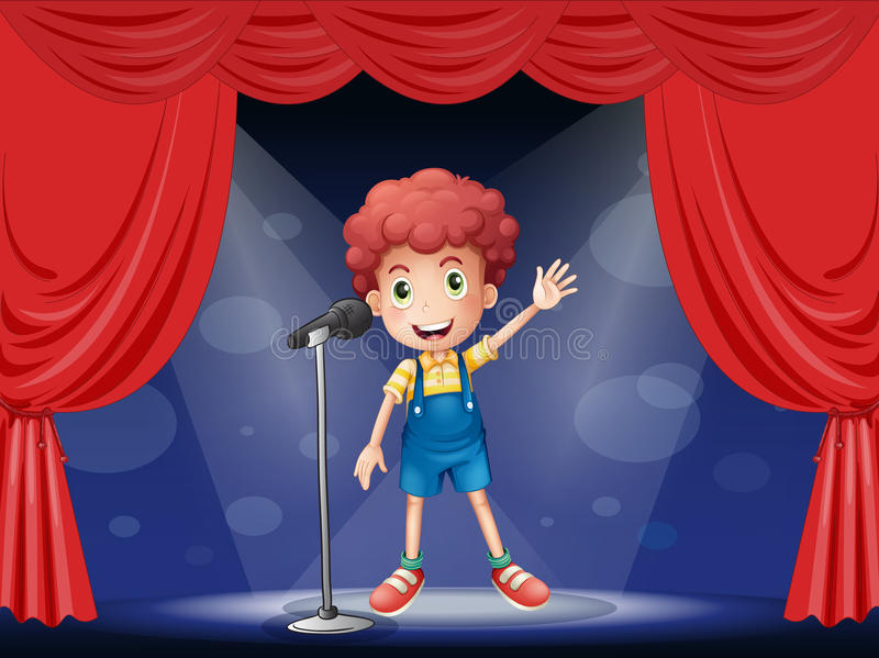 Download A Boy Performing On The Stage Stock Vector - Illustration of curly, sound: 33097829