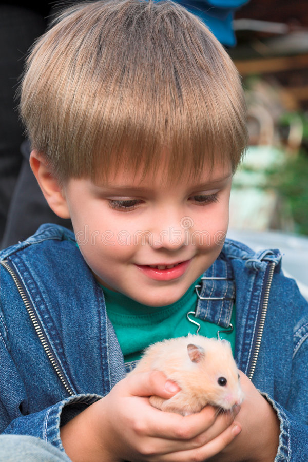 Boy with pet stock photography
